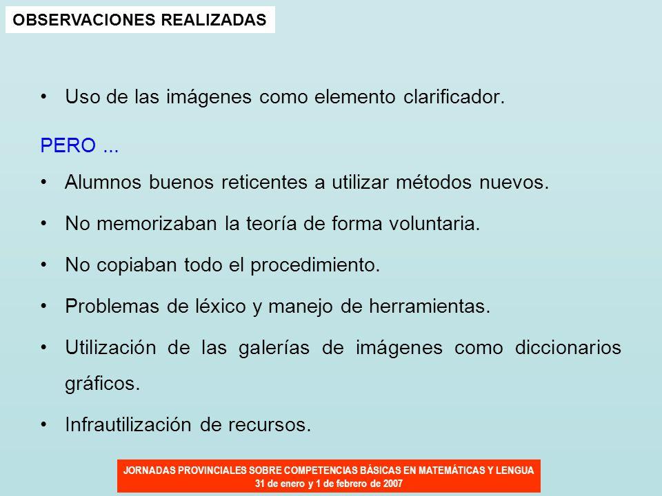 JORNADAS PROVINCIALES SOBRE COMPETENCIAS BÁSICAS EN MATEMÁTICAS Y LENGUA 31 de enero y 1 de febrero de 2007 OBSERVACIONES REALIZADAS Uso de las imágen