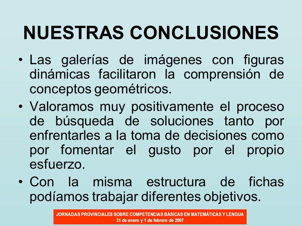 JORNADAS PROVINCIALES SOBRE COMPETENCIAS BÁSICAS EN MATEMÁTICAS Y LENGUA 31 de enero y 1 de febrero de 2007 NUESTRAS CONCLUSIONES Las galerías de imág
