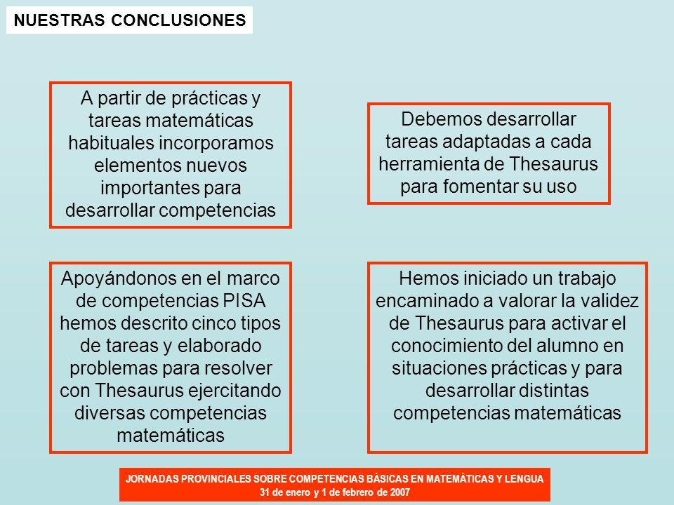 JORNADAS PROVINCIALES SOBRE COMPETENCIAS BÁSICAS EN MATEMÁTICAS Y LENGUA 31 de enero y 1 de febrero de 2007 NUESTRAS CONCLUSIONES A partir de práctica