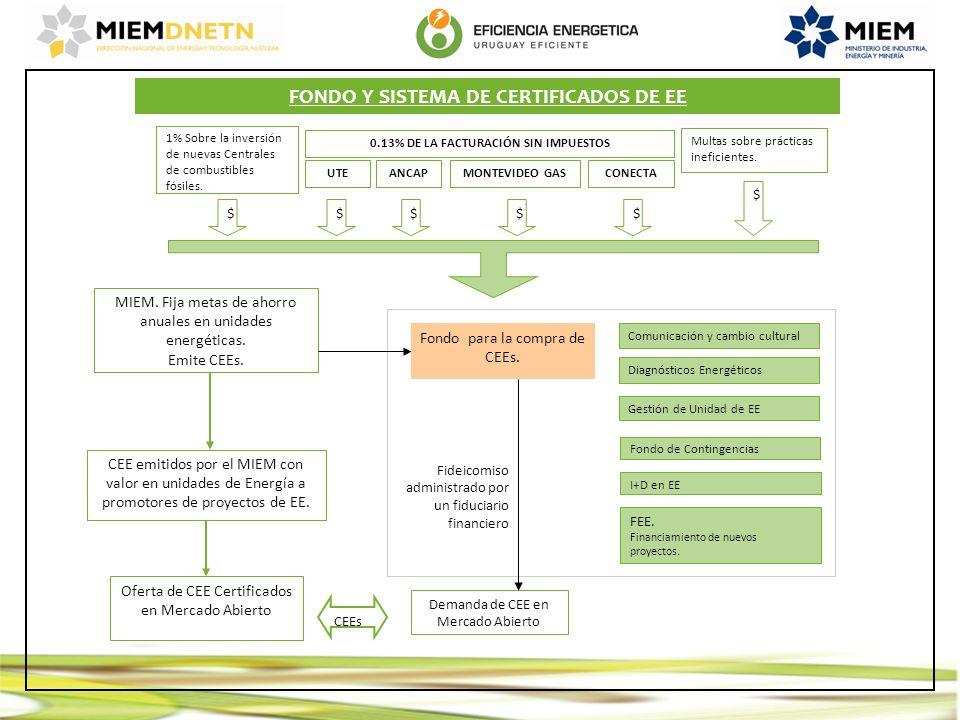 MIEM. Fija metas de ahorro anuales en unidades energéticas. Emite CEEs. CEE emitidos por el MIEM con valor en unidades de Energía a promotores de proy