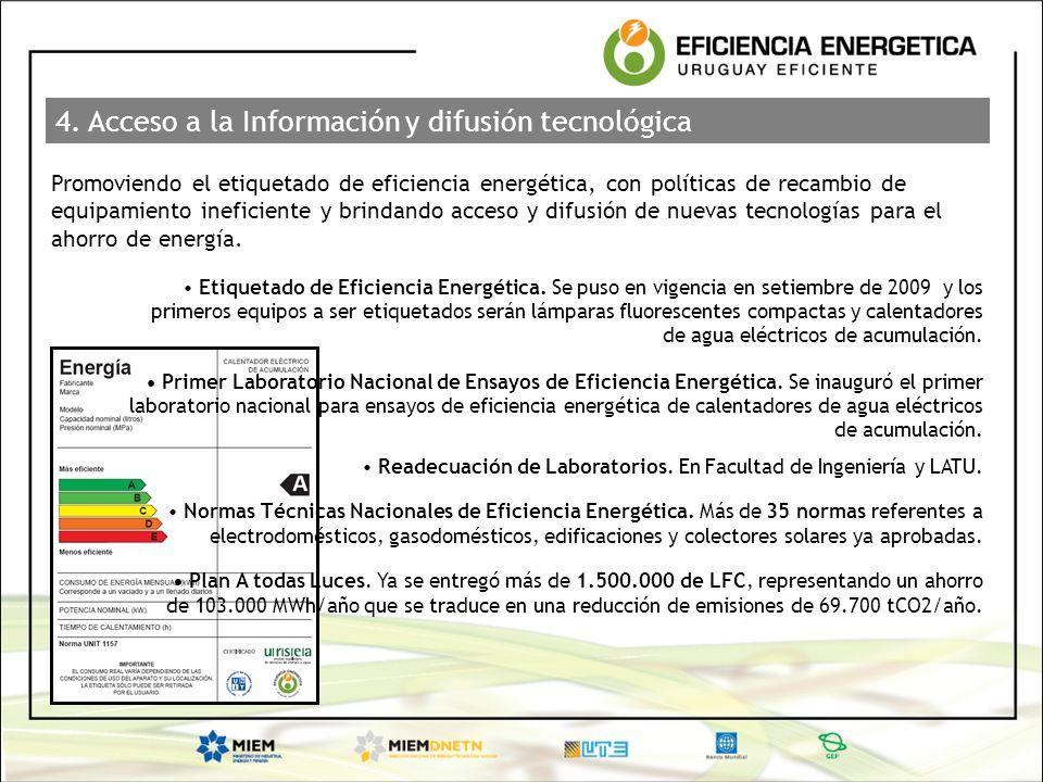 4. Acceso a la Información y difusión tecnológica Promoviendo el etiquetado de eficiencia energética, con políticas de recambio de equipamiento inefic