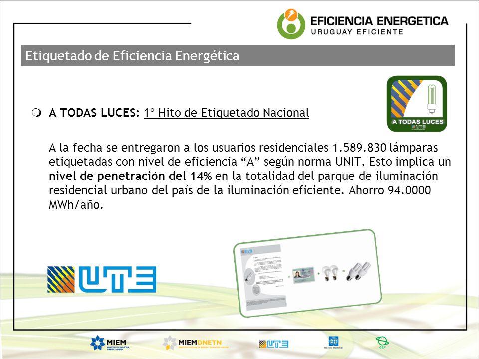 Etiquetado de Eficiencia Energética A TODAS LUCES: 1º Hito de Etiquetado Nacional A la fecha se entregaron a los usuarios residenciales 1.589.830 lámp
