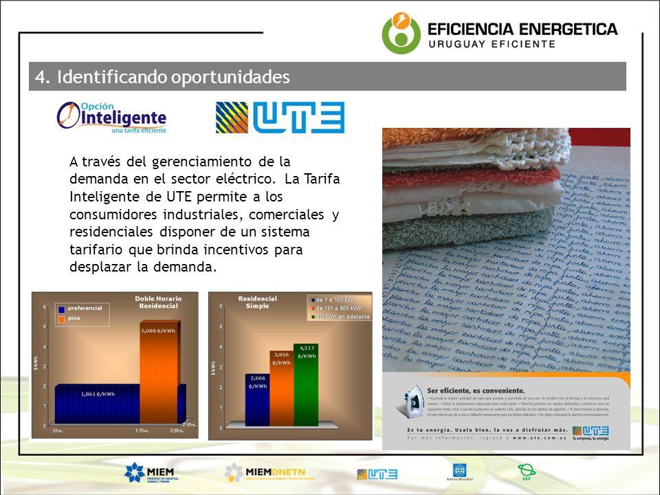 4. Identificando oportunidades A través del gerenciamiento de la demanda en el sector eléctrico. La Tarifa Inteligente de UTE permite a los consumidor