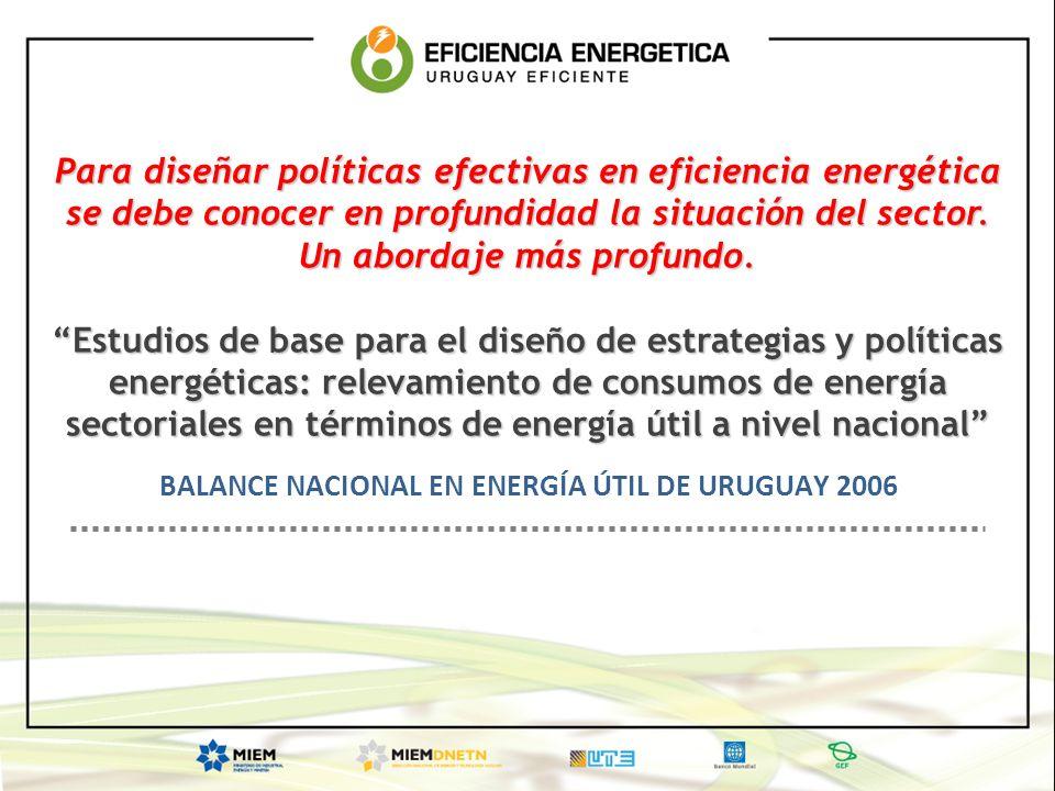 Para diseñar políticas efectivas en eficiencia energética se debe conocer en profundidad la situación del sector. Un abordaje más profundo. Estudios d