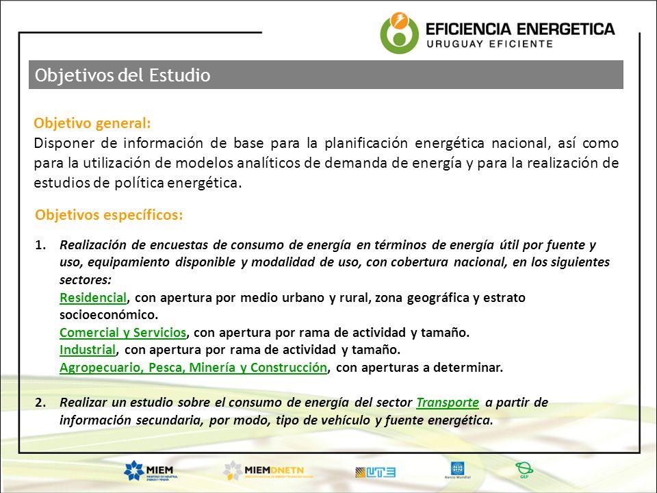 Objetivo general: Disponer de información de base para la planificación energética nacional, así como para la utilización de modelos analíticos de dem