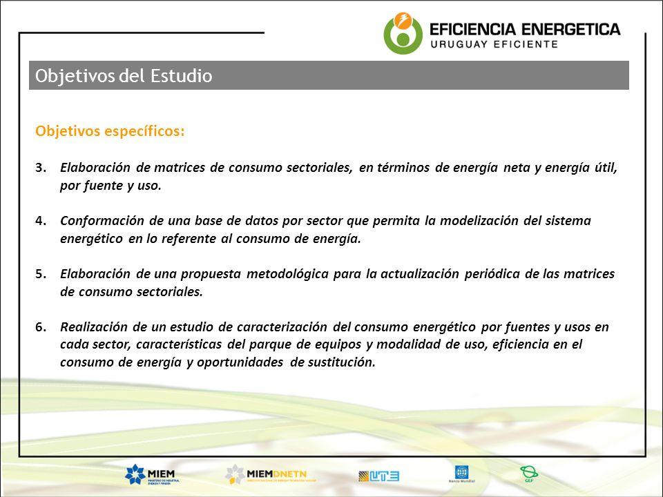 Objetivos específicos: 3.Elaboración de matrices de consumo sectoriales, en términos de energía neta y energía útil, por fuente y uso. 4.Conformación