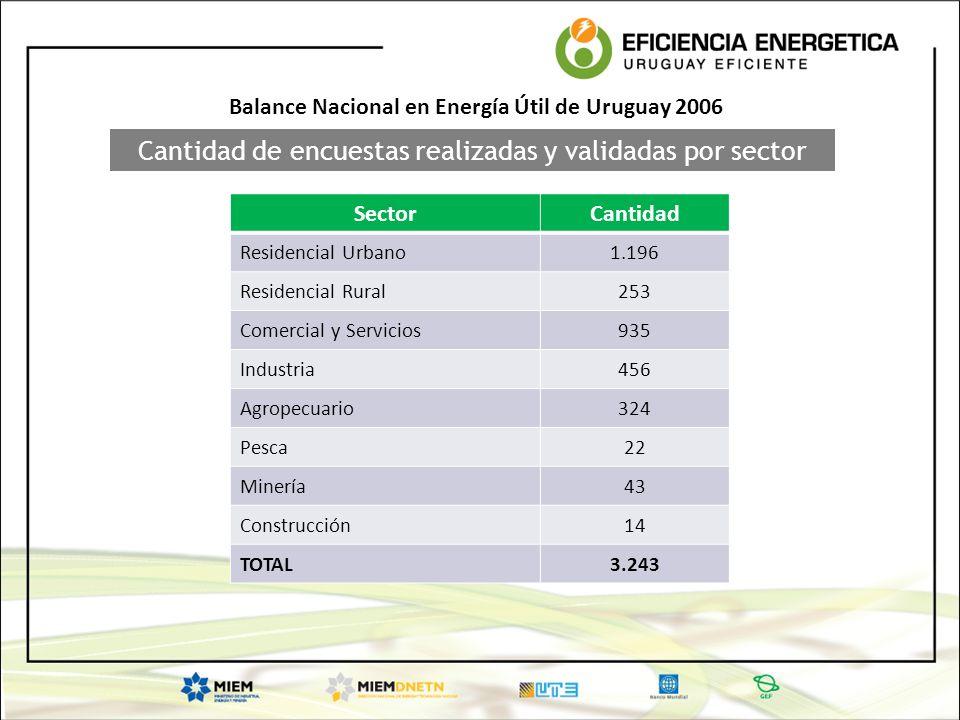 Cantidad de encuestas realizadas y validadas por sector SectorCantidad Residencial Urbano1.196 Residencial Rural253 Comercial y Servicios935 Industria