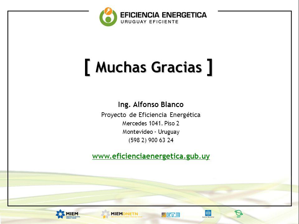 [ Muchas Gracias ] Ing. Alfonso Blanco Proyecto de Eficiencia Energética Mercedes 1041. Piso 2 Montevideo - Uruguay (598 2) 900 63 24 www.eficienciaen