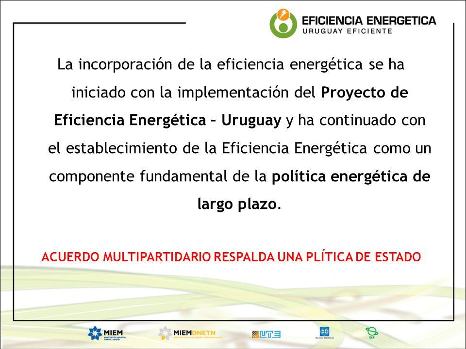 La incorporación de la eficiencia energética se ha iniciado con la implementación del Proyecto de Eficiencia Energética – Uruguay y ha continuado con