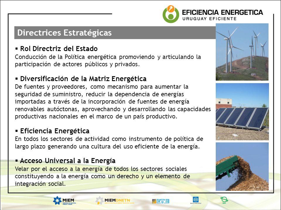 Directrices Estratégicas Rol Directriz del Estado Conducción de la Política energética promoviendo y articulando la participación de actores públicos