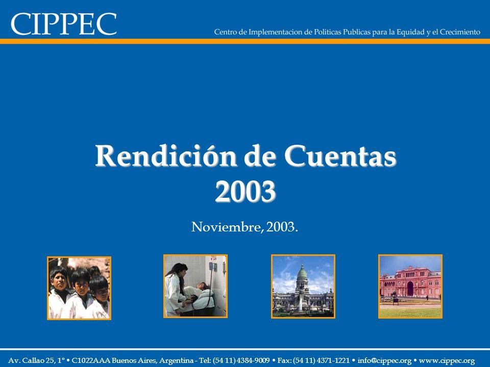 Ingresos por fuentes Cifras no auditadas – Incluye CIPPEC USA 159 1.153 2.101 2.010* (*) Base: Caja 2003 (**) En miles de pesos