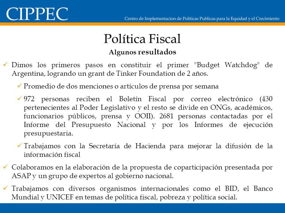 Política Fiscal Dimos los primeros pasos en constituir el primer Budget Watchdog de Argentina, logrando un grant de Tinker Foundation de 2 años.