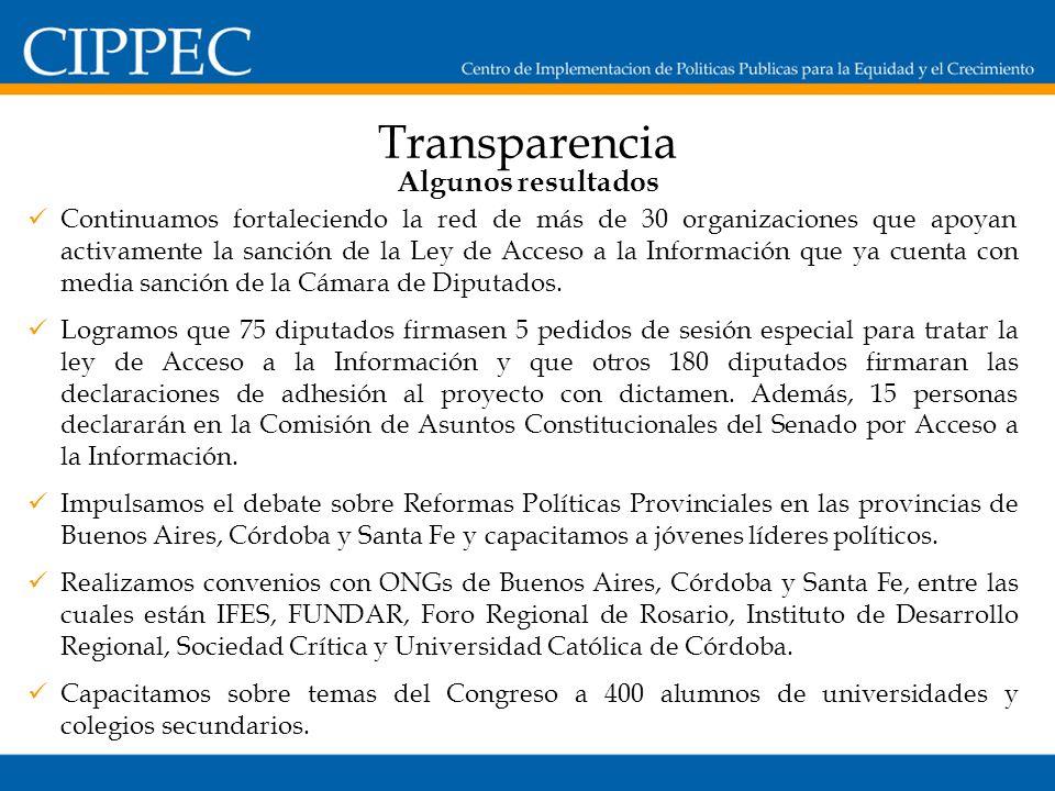 Transparencia Continuamos fortaleciendo la red de más de 30 organizaciones que apoyan activamente la sanción de la Ley de Acceso a la Información que ya cuenta con media sanción de la Cámara de Diputados.