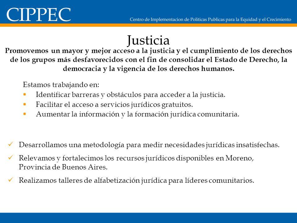 Justicia Estamos trabajando en: Identificar barreras y obstáculos para acceder a la justicia.
