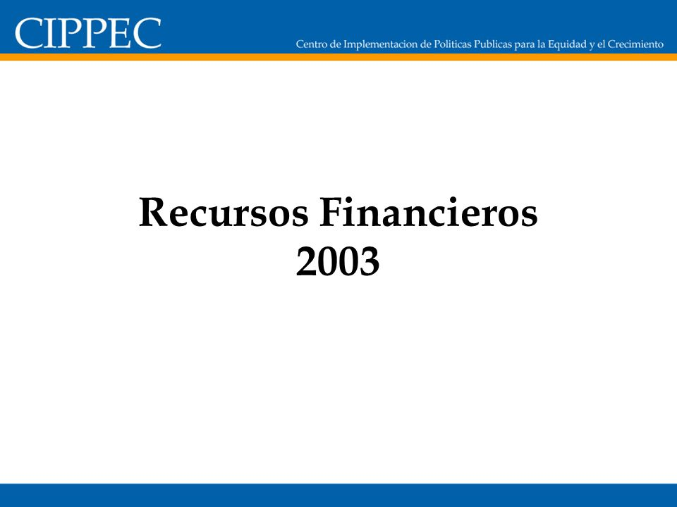 Recursos Financieros 2003