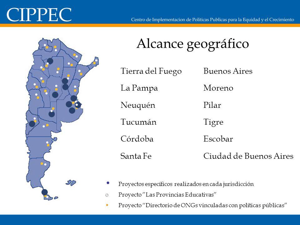 Alcance geográfico Tierra del Fuego La Pampa Neuquén Tucumán Córdoba Santa Fe Buenos Aires Moreno Pilar Tigre Escobar Ciudad de Buenos Aires Proyectos específicos realizados en cada jurisdicción oProyecto Las Provincias Educativas Proyecto Directorio de ONGs vinculadas con políticas públicas