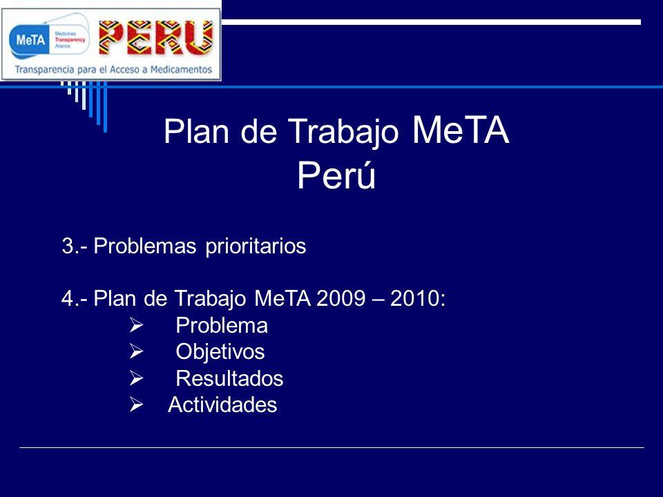 Plan de Trabajo MeTA Perú 3.- Problemas prioritarios 4.- Plan de Trabajo MeTA 2009 – 2010: Problema Objetivos Resultados Actividades