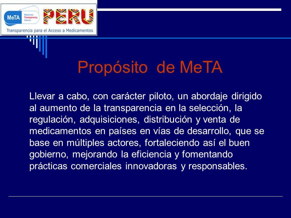 Propósito de MeTA Llevar a cabo, con carácter piloto, un abordaje dirigido al aumento de la transparencia en la selección, la regulación, adquisicione