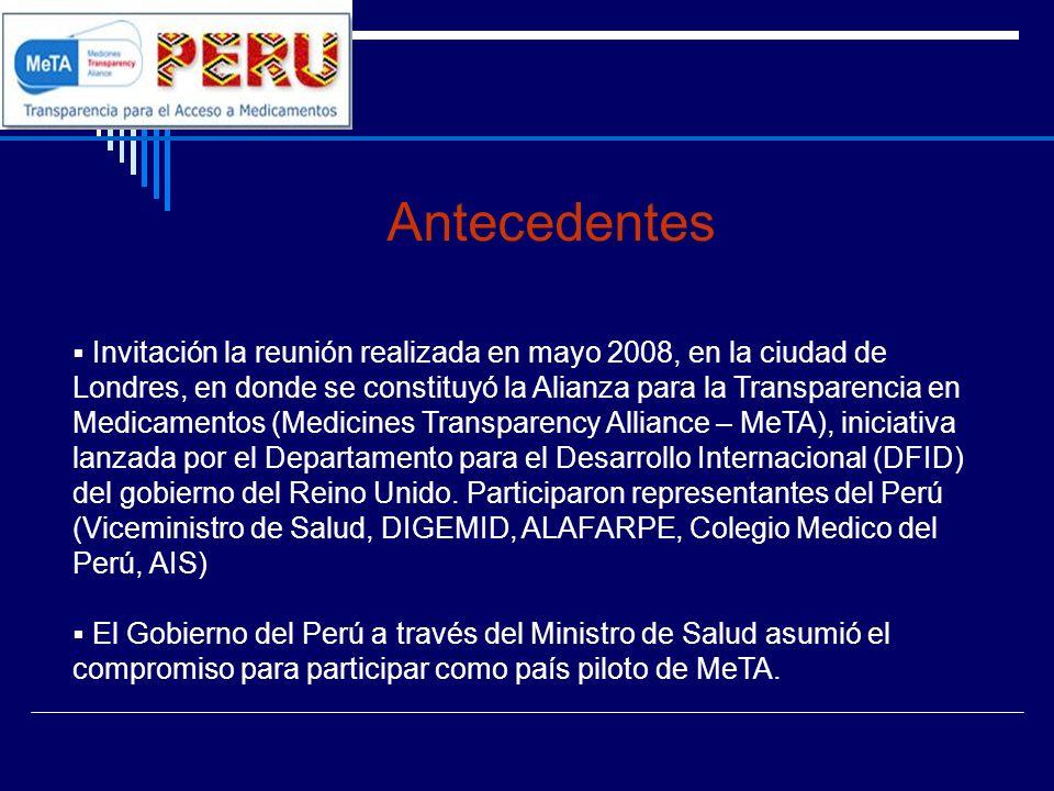 Plan de Trabajo MeTA Perú Problema 4Objetivo Debilidad en los mecanismos de transparencia y publicidad de los actos de gestión pública en las etapas de la cadena del suministro de medicamentos, ocasionando un resultado negativo en la disponibilidad de medicamentos en EE.SS.