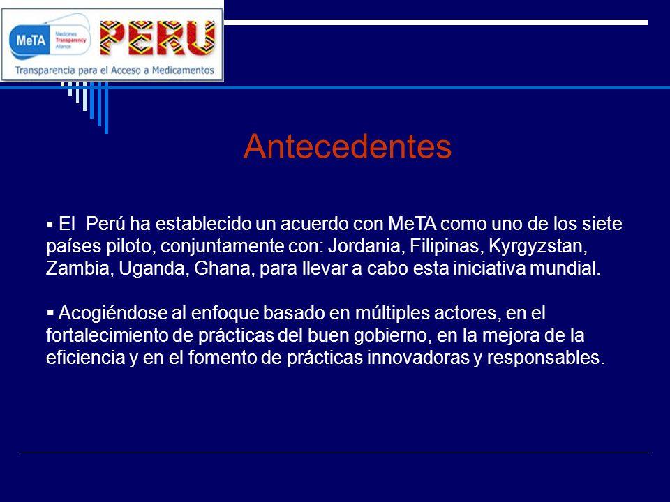 Plan de Trabajo MeTA Perú Problema 5Objetivo Uso irracional de medicamentos ocasionado por practicas de prescripción y dispensación con frecuencia inapropiadas que conducen a intervenciones farmacológicas suboptimas y/o gasto ineficiente de los recursos de hogares y sistemas de salud.