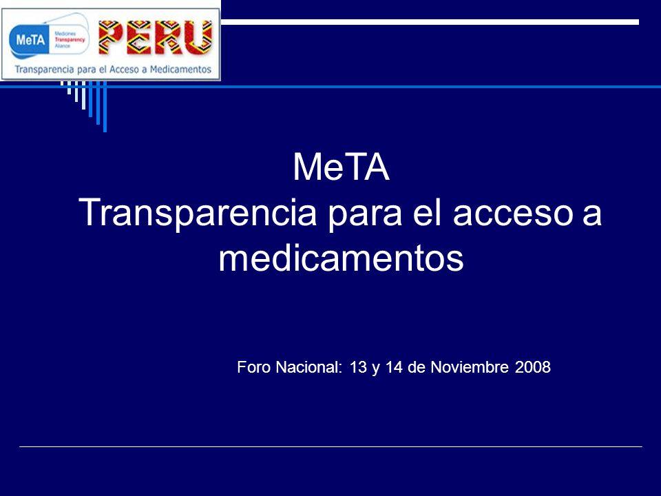 MeTA Transparencia para el acceso a medicamentos Foro Nacional: 13 y 14 de Noviembre 2008