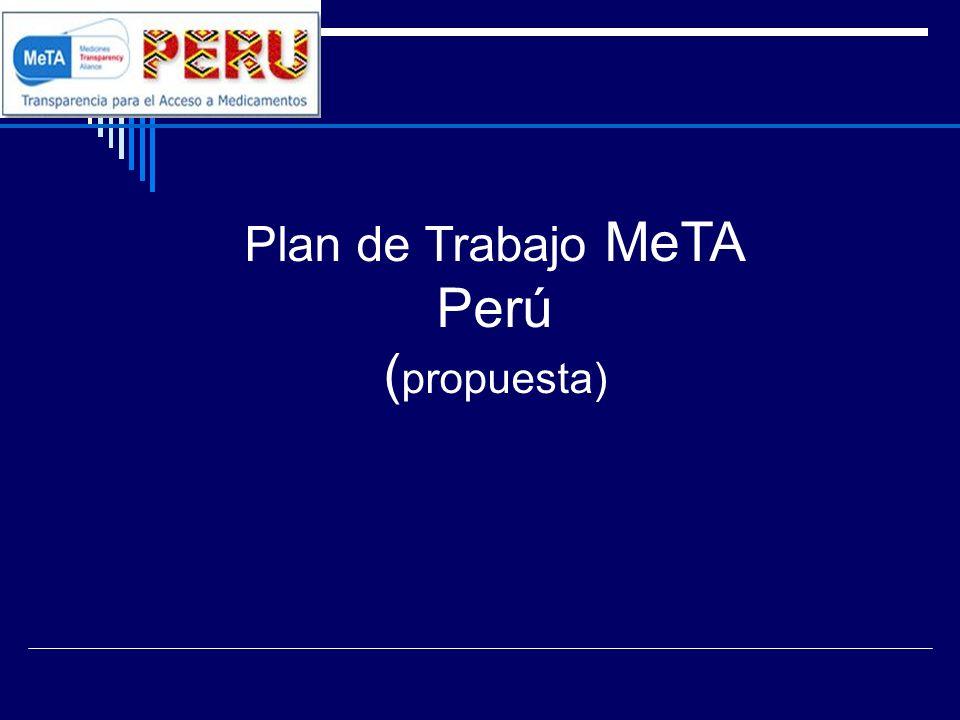Plan de Trabajo MeTA Perú 1.- Introducción: 2.- Diagnostico: 06 espacios de interacción 2.1 El mercado de medicamentos 2.2 Financiamiento de los medicamentos 2.3 Productos genéricos 2.4 Sistema publico de adquisición y distribución 2.5 Cobertura de Servicios y acceso a medicamentos 2.6 Recursos Humanos