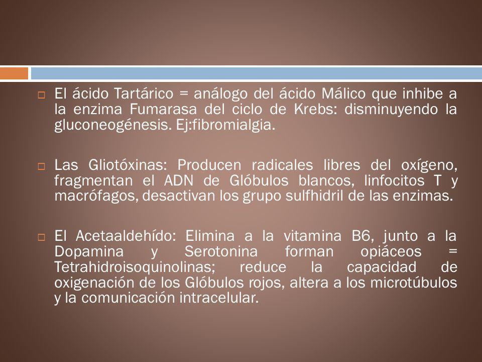 El ácido Tartárico = análogo del ácido Málico que inhibe a la enzima Fumarasa del ciclo de Krebs: disminuyendo la gluconeogénesis. Ej:fibromialgia. La