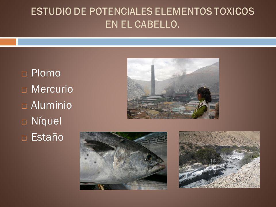 ESTUDIO DE POTENCIALES ELEMENTOS TOXICOS EN EL CABELLO. Plomo Mercurio Aluminio Níquel Estaño