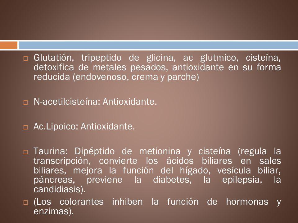 Glutatión, tripeptido de glicina, ac glutmico, cisteína, detoxifica de metales pesados, antioxidante en su forma reducida (endovenoso, crema y parche)