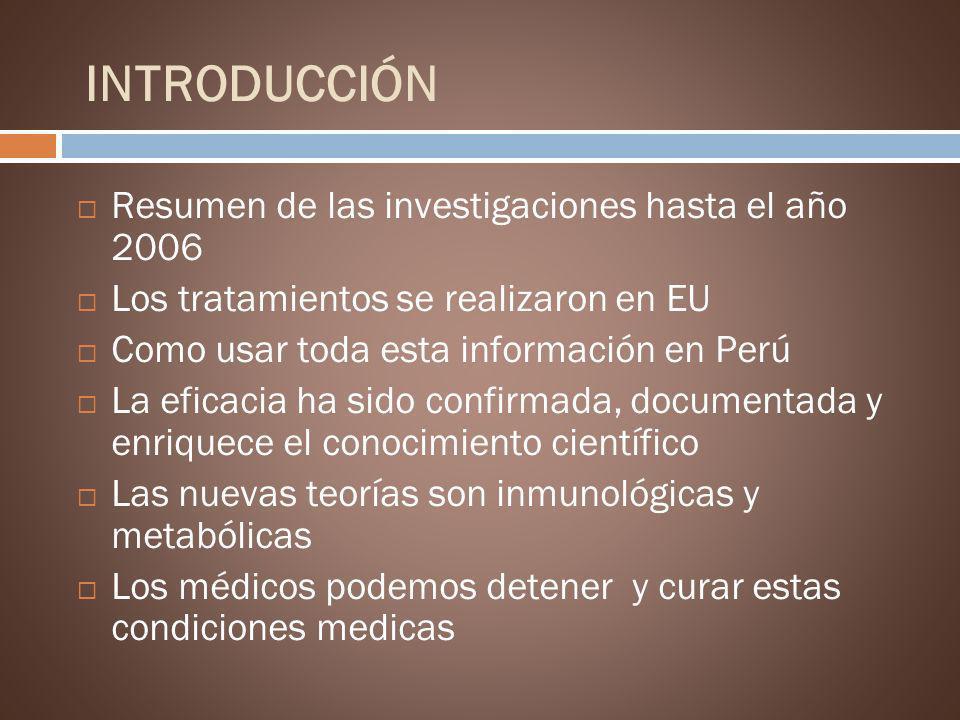 INTRODUCCIÓN Resumen de las investigaciones hasta el año 2006 Los tratamientos se realizaron en EU Como usar toda esta información en Perú La eficacia