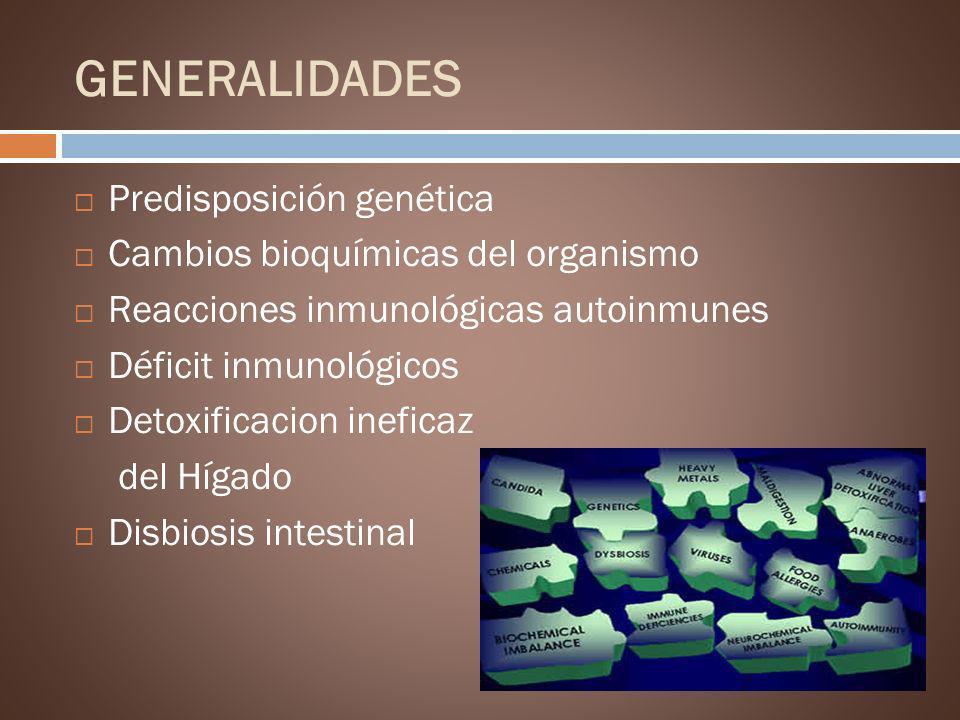 GENERALIDADES Predisposición genética Cambios bioquímicas del organismo Reacciones inmunológicas autoinmunes Déficit inmunológicos Detoxificacion inef