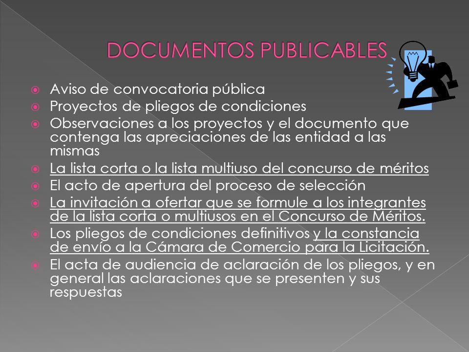 Aviso de convocatoria pública Proyectos de pliegos de condiciones Observaciones a los proyectos y el documento que contenga las apreciaciones de las e