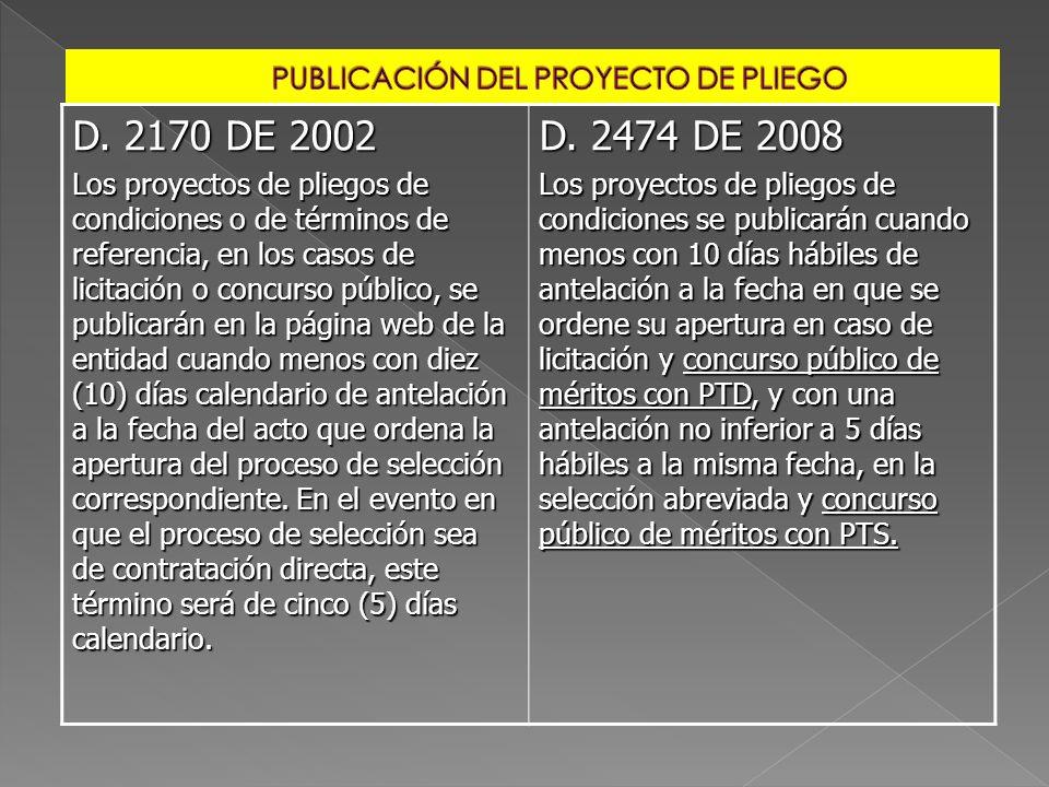 D. 2170 DE 2002 Los proyectos de pliegos de condiciones o de términos de referencia, en los casos de licitación o concurso público, se publicarán en l