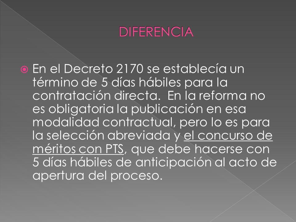 En el Decreto 2170 se establecía un término de 5 días hábiles para la contratación directa. En la reforma no es obligatoria la publicación en esa moda