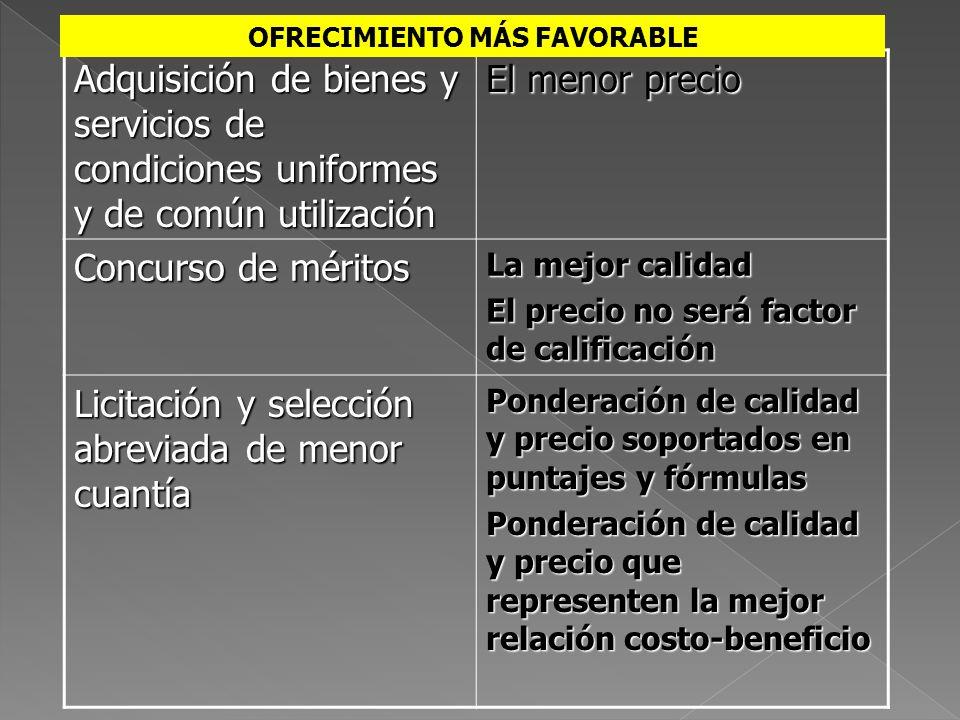 Adquisición de bienes y servicios de condiciones uniformes y de común utilización El menor precio Concurso de méritos La mejor calidad El precio no se