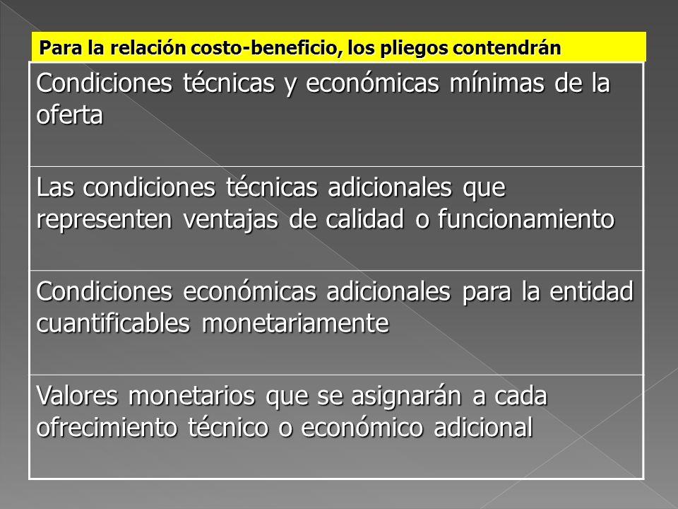 Condiciones técnicas y económicas mínimas de la oferta Las condiciones técnicas adicionales que representen ventajas de calidad o funcionamiento Condi