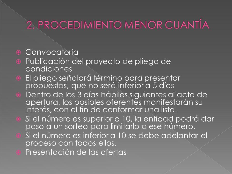 Convocatoria Publicación del proyecto de pliego de condiciones El pliego señalará término para presentar propuestas, que no será inferior a 5 días Den