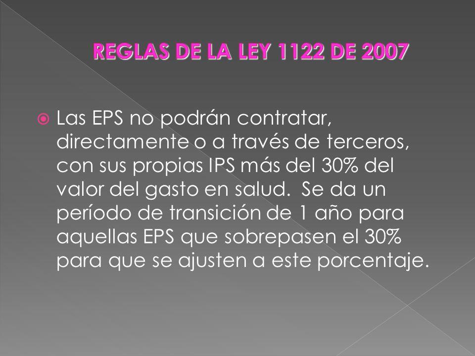 Las EPS no podrán contratar, directamente o a través de terceros, con sus propias IPS más del 30% del valor del gasto en salud. Se da un período de tr