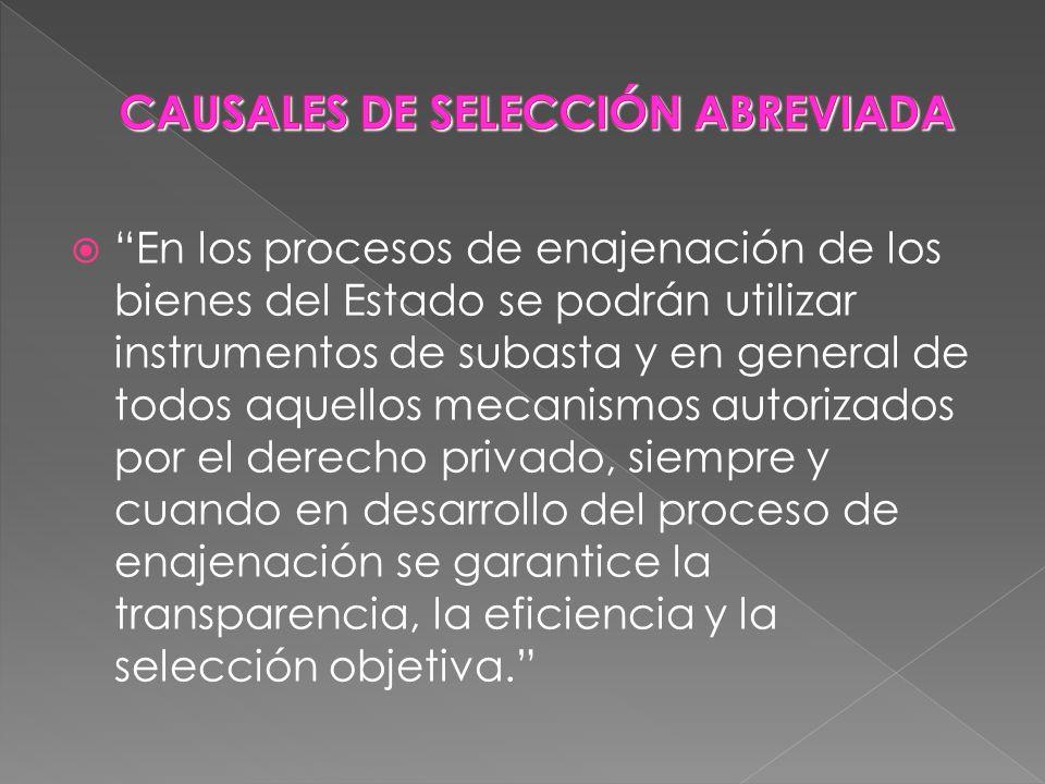 En los procesos de enajenación de los bienes del Estado se podrán utilizar instrumentos de subasta y en general de todos aquellos mecanismos autorizad