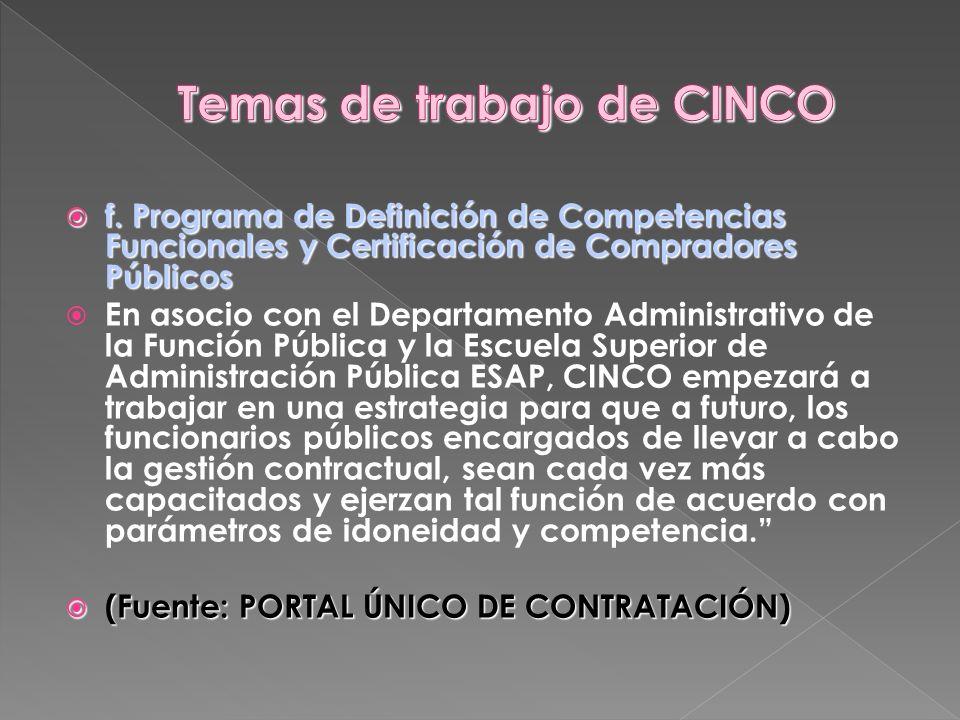 f. Programa de Definición de Competencias Funcionales y Certificación de Compradores Públicos f. Programa de Definición de Competencias Funcionales y