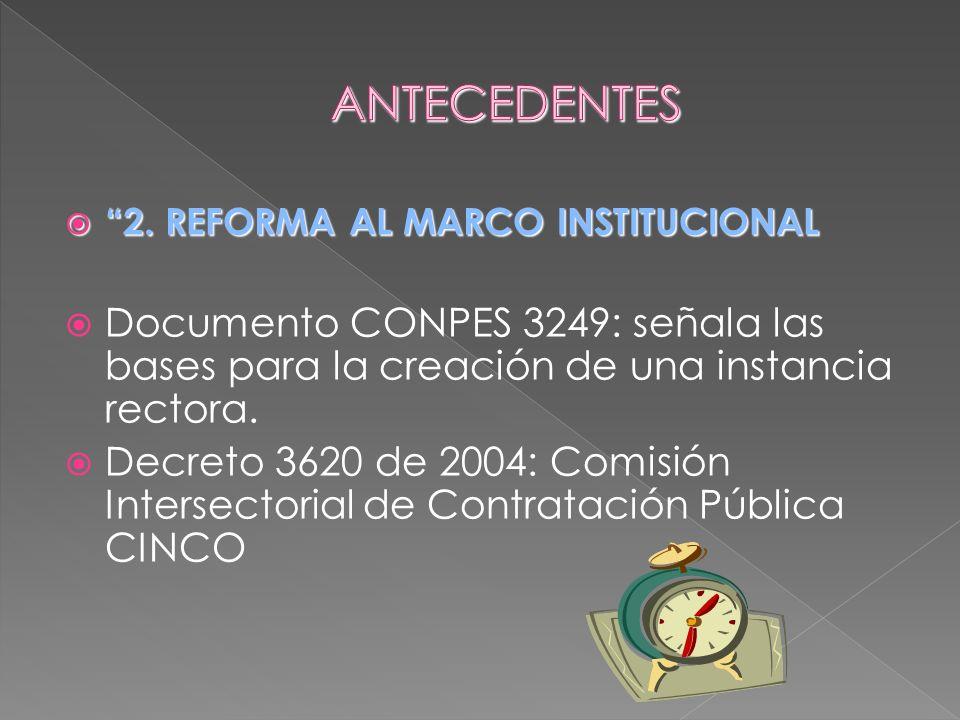 2. REFORMA AL MARCO INSTITUCIONAL 2. REFORMA AL MARCO INSTITUCIONAL Documento CONPES 3249: señala las bases para la creación de una instancia rectora.