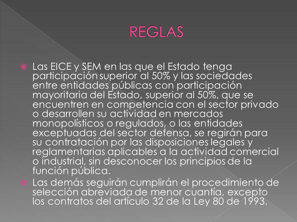 Las EICE y SEM en las que el Estado tenga participación superior al 50% y las sociedades entre entidades públicas con participación mayoritaria del Es