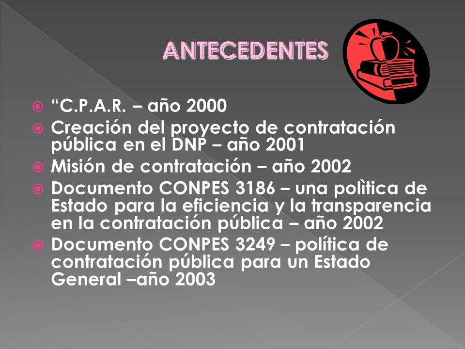 C.P.A.R. – año 2000 Creación del proyecto de contratación pública en el DNP – año 2001 Misión de contratación – año 2002 Documento CONPES 3186 – una p