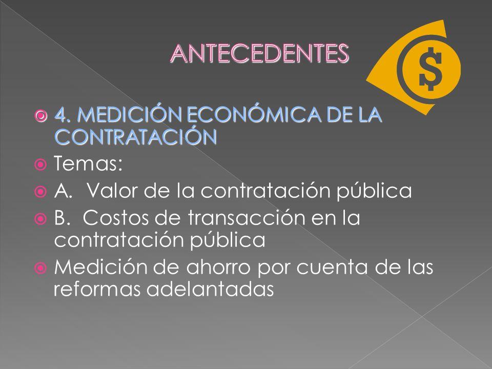 4. MEDICIÓN ECONÓMICA DE LA CONTRATACIÓN 4. MEDICIÓN ECONÓMICA DE LA CONTRATACIÓN Temas: A. Valor de la contratación pública B. Costos de transacción