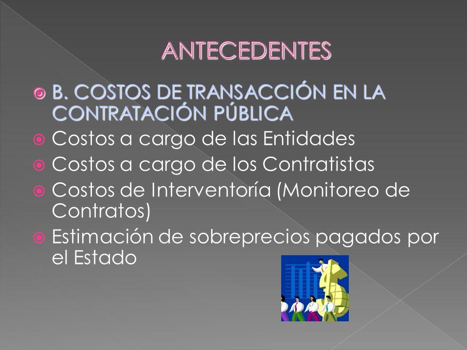B. COSTOS DE TRANSACCIÓN EN LA CONTRATACIÓN PÚBLICA B. COSTOS DE TRANSACCIÓN EN LA CONTRATACIÓN PÚBLICA Costos a cargo de las Entidades Costos a cargo