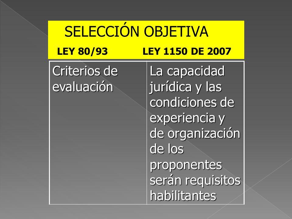 Criterios de evaluación La capacidad jurídica y las condiciones de experiencia y de organización de los proponentes serán requisitos habilitantes SELE