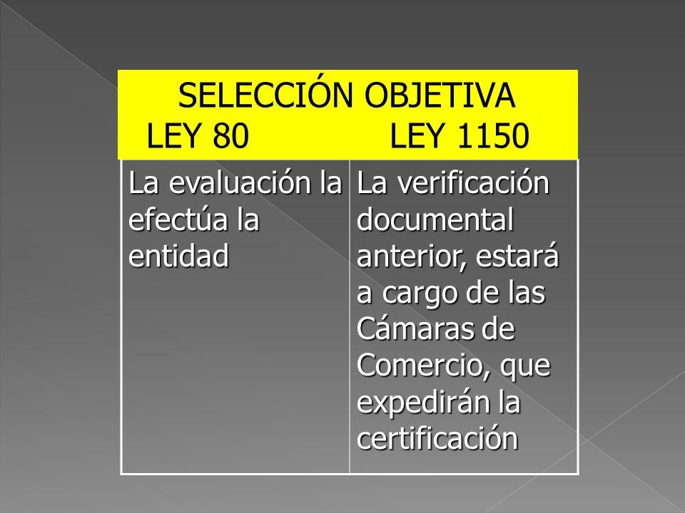 La evaluación la efectúa la entidad La verificación documental anterior, estará a cargo de las Cámaras de Comercio, que expedirán la certificación SEL