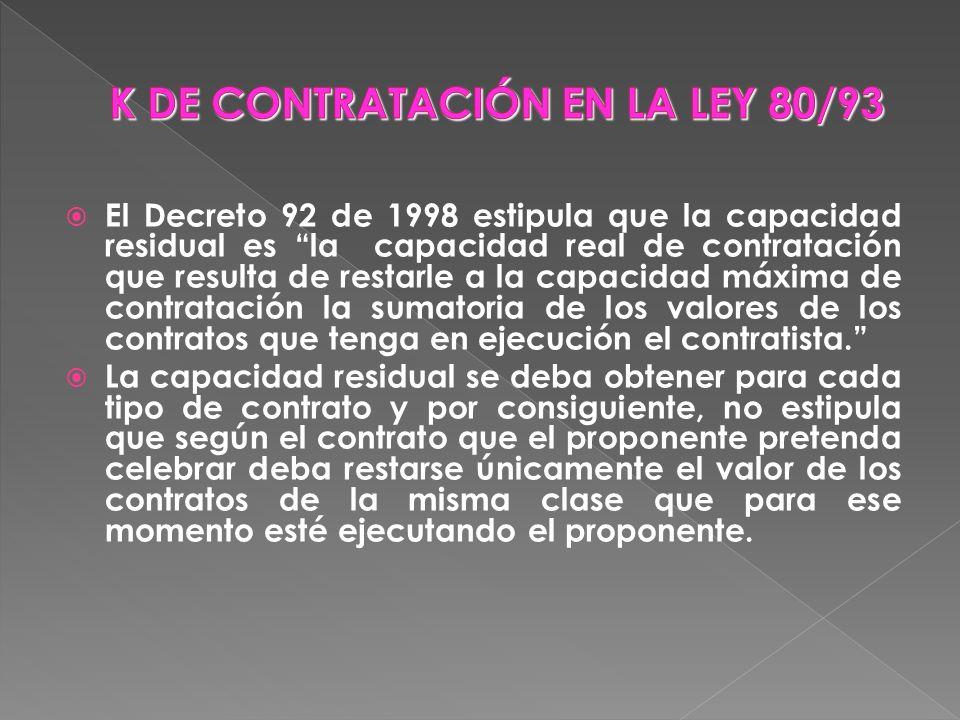 El Decreto 92 de 1998 estipula que la capacidad residual es la capacidad real de contratación que resulta de restarle a la capacidad máxima de contrat