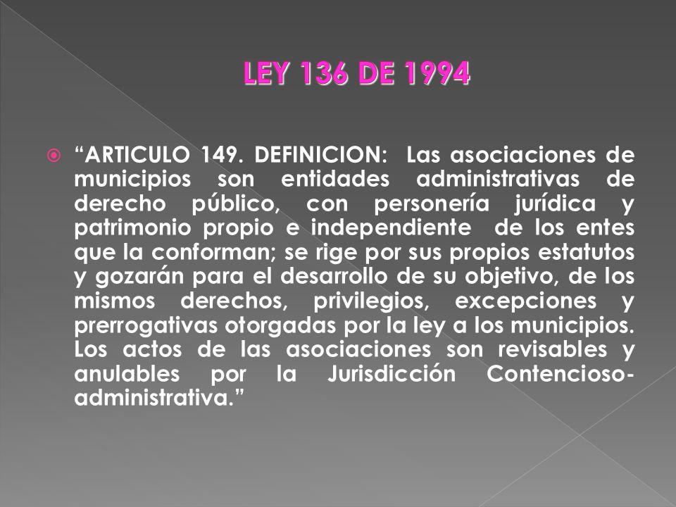 ARTICULO 149. DEFINICION: Las asociaciones de municipios son entidades administrativas de derecho público, con personería jurídica y patrimonio propio