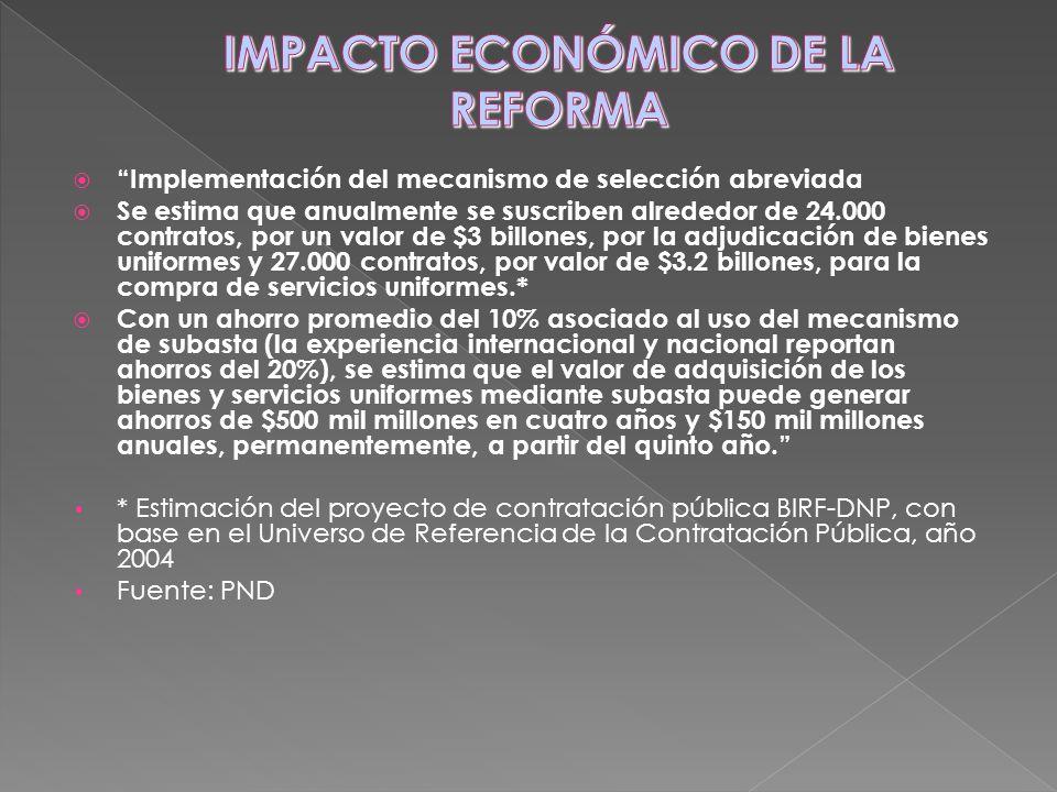Implementación del mecanismo de selección abreviada Se estima que anualmente se suscriben alrededor de 24.000 contratos, por un valor de $3 billones,